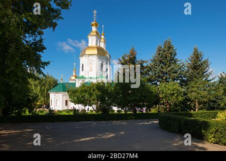 DIVEEVO, RUSSIA - AUGUST 25, 2019: The Annunciation Cathedral of the Trinity Seraphim-Diveevo monastery in the village of Diveevo