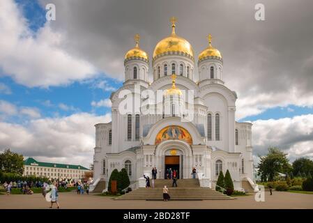 DIVEEVO, RUSSIA - AUGUST 25, 2019: Transfiguration Cathedral in the Trinity Seraphim-Diveevo monastery in the village of Diveevo