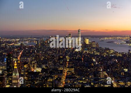 New York, United States: October 16, 2019: New York city view from the top of Empire State building, with lower Manhattan and Hudson river