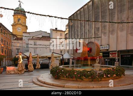Rijeka,Croatia-December 25th 2019.Trg Ivana Koblera in Rijeka, Primorje-Gorski Kotar county, Croatia. It's Christmas Day & the it's deserted