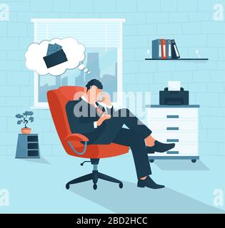 Vector of a sad businessman having financial problem thinking of economy crisis lack of money - Stock Photo