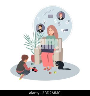 Businesswoman in home clothes working from home using laptop computer and her little son playing on the floor. Covid or coronavirus quarantine concept