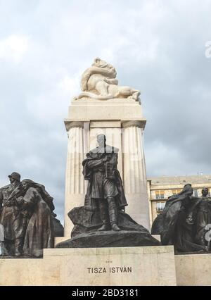 Budapest, Hungary - Nov 6, 2019: Istvan Tisza Monument in the Hungarian capital. Statue complex with sculpture of Hungarian politician and prime minister from the Austria-Hungary era in the middle. - Stock Photo