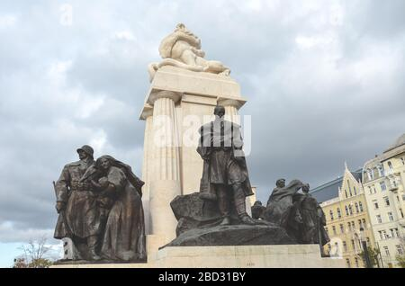 Budapest, Hungary - Nov 6, 2019: Istvan Tisza Monument in the Hungarian capital. Statue complex with sculpture of Hungarian politician, prime minister from the Austria-Hungary era. Horizontal photo. - Stock Photo