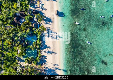 Aerial view, Idyllic palm beach, luxury hotel La Pirogue Resort & Spa, Flic en Flac, Mauritius