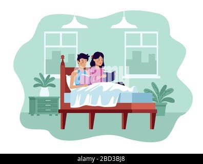 couple in quarentine bedroom scene - Stock Photo