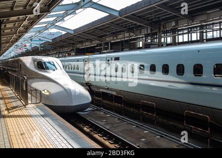 Tokaido Shinkansen high-speed bullet train (N700) at Himeji station. Himeji, Japan, August 2019 - Stock Photo