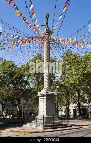 Decorated Pillar of Peace at Plaza Cagancha, Montevideo, Uruguay.