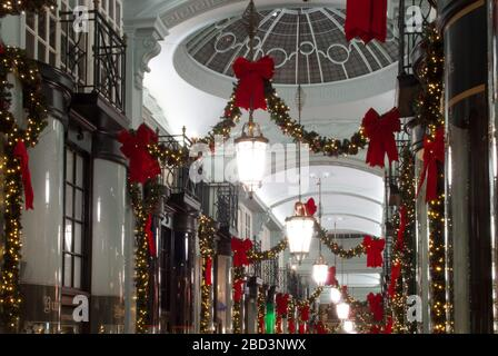 Christmas Decorations Retail Shopping Shops Arcade Piccadilly Arcade, St. James's, London SW1Y 6NH - Stock Photo