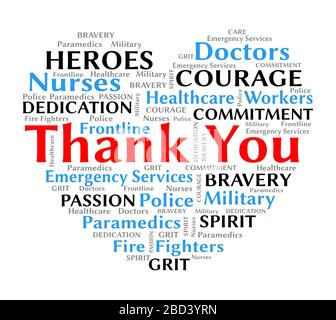 Thank you wordcloud for coronavirus covid-19 to nurses doctors healthcare and frontline workers heart shape with text for bravery and courage - Stock Photo