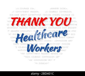 Thank you to nurses doctors healthcare for coronavirus covid-19 workers heart shape wordcloud with text for bravery and courage - Stock Photo