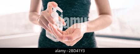 COVID-19 Hand sanitizer rubbing hands woman applying sanitizing gel liquid clean personal hygiene coronavirus pervention at home. Sanitiser bottle banner header.