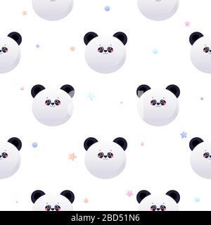 Cute Kawaii Panda, Bear. Animal seamless pattern. Vector illustration - Stock Photo