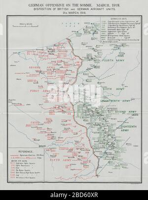 First World War German Somme Offensive. British German aircraft units 21 March 1918 1934 map - Stock Photo
