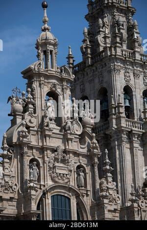 View of Santiago de Compostela Cathedral from balcony on Hotel Parador Santiago de Compostela, Plaza del Obradoiro, Santiago de Compostela, Galicia - Stock Photo