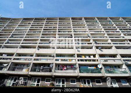 Exterior view of Cables Wynd House apartment block, known as the Banana Flats, in Leith, Scotland, UK - Stock Photo