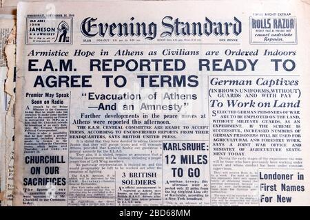 'E.A.M Reported Ready to Agree to Terms' 14 December 1944 Evening Standard WWII British newspaper headlines in London England  Great Britain UK Stock Photo
