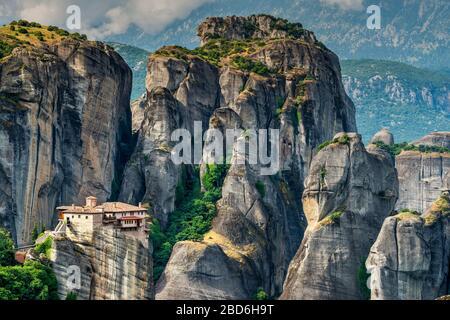 Monastery of Moni Agias Varvaras Rousanou, Meteora, Thessaly, Greece - Stock Photo