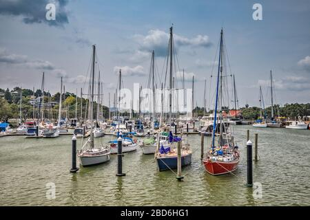 Boats at Town Basin marina at Hatea River in Whangarei, Northland Region, North Island, New Zealand - Stock Photo