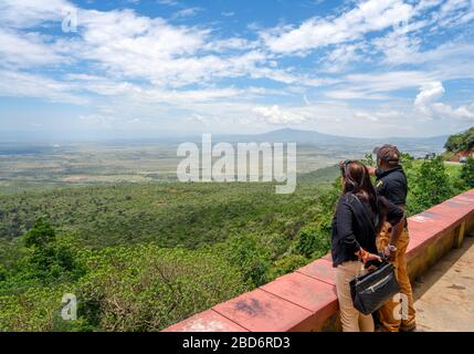 View over the Great Rift Valley from the Kamandura-Mai Mahiu-Narok Road (B3), Kenya, East Africa - Stock Photo