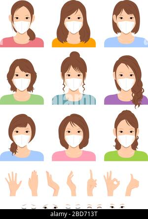Young asian woman (upper body ) wearing a mask vector illustration set , hand gesture and face emtion variation set / Coronavirus (influenza hay fever Stock Photo