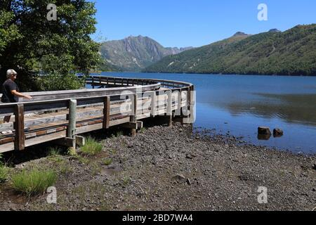Coldwater Lake is part of the Mount St Helens National Volcanic Monument. The lake was formed after the 1980 eruption of Mount St. Helens, Stock Photo