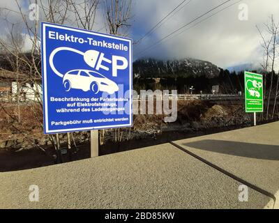 electric vehicle charging station - information sign, Germany - Stock Photo