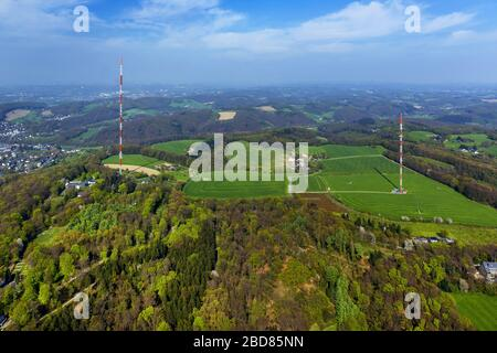 , Antenna and transmission tower radio mast Langenberg in Velbert, 24.04.2015, aerial view, Germany, North Rhine-Westphalia, Bergisches Land, Velbert - Stock Photo