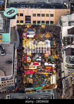 Christmas market on the square Alter Markt in Dortmund, 14.12.2014, aerial view, Germany, North Rhine-Westphalia, Ruhr Area, Dortmund - Stock Photo