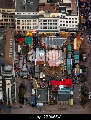 Christmas market on the Husemann place in Bochum, 14.12.2014, aerial view, Germany, North Rhine-Westphalia, Ruhr Area, Bochum - Stock Photo