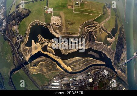 Reconstruction of Lippe mouth in river Rhine near Wesel, 06.03.2014, aerial view, Germany, North Rhine-Westphalia, Ruhr Area, Wesel - Stock Photo