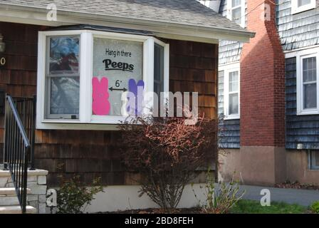 Rutherford, New Jersey / USA - April 02 2020: Social distancing amid the novel coronavirus (COVID-19). - Stock Photo