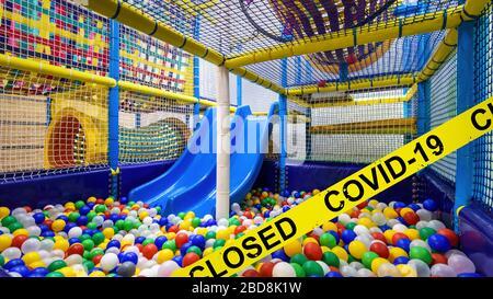 Kids playground closed due to COVID-19 coronavirus disease. SARS-CoV-2 corona virus outbreak, countries impose quarantine and restrictions on movement