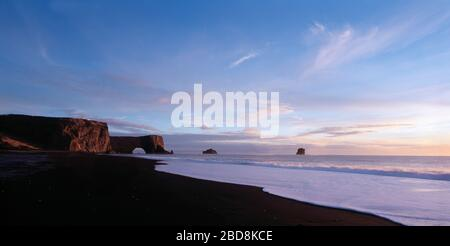 the black sand beach at the arch Dyrhólaey in south Iceland