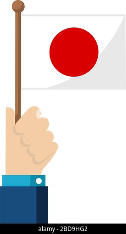 Holding the national flag in hand , flat vector illustration / Japan - Stock Photo