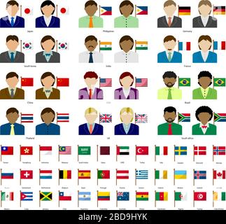Faceless business person with national flags set . Flat vector illustration. National flag changeable. - Stock Photo