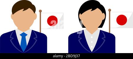 Faceless business person with national flags / Japan . Flat vector illustration. - Stock Photo