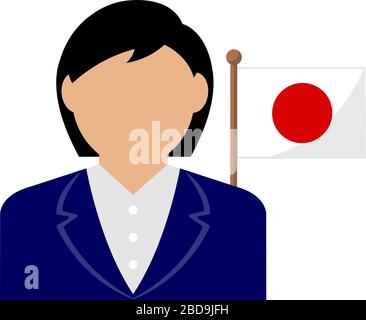 Faceless business woman with national flags / Japan .Flat vector illustration. - Stock Photo