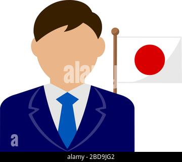 Faceless business man with national flags / Japan .Flat vector illustration. - Stock Photo
