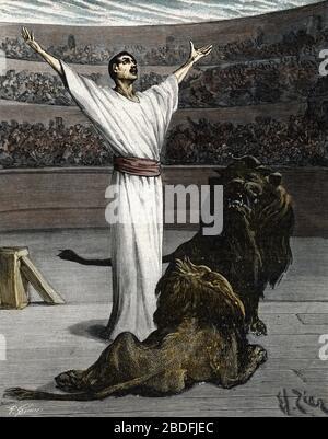 'Persecutions des premiers chretiens jetes dans les arenes et livres aux betes sauvages sous l'empereur romain Diocletien, 303' (Christians martyrs in - Stock Photo
