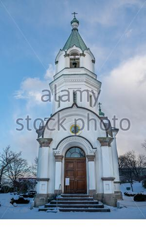Russian Orthodox Church in Hakodate on a winter day. On the island of Hokkaido in northern Japan. - Stock Photo