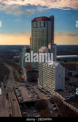 Niagara Falls city, December 2014 - Cityscape with tall buildings at Niagara city, Ontario, Canada - Stock Photo