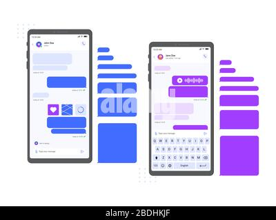 Mobile chat messenger interface. Smartphone messages mockup, chat conversation and online message on phone screen vector illustration. Internet - Stock Photo