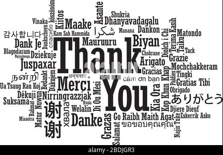 Thank You Word Cloud in multiple international language in vector format - Stock Photo