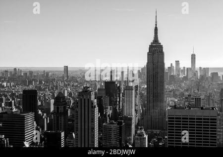 Black and White Panoramic View over New York - Stock Photo
