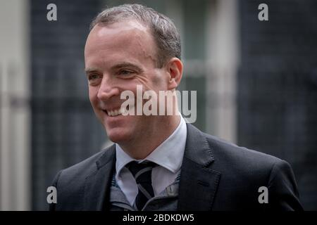 Dominic Raab, MP for Esher and Walton and Foreign Secretary & First Secretary of State arrives at Downing Street on the day of the Budget, London, UK. - Stock Photo