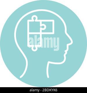 puzzle inside human head block style icon vector design