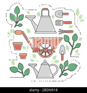 Gardening items collection outline icons set flat vector illustration on white background - Stock Photo