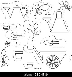Seamless pattern gardening items collection outline icons set flat vector illustration on white background - Stock Photo