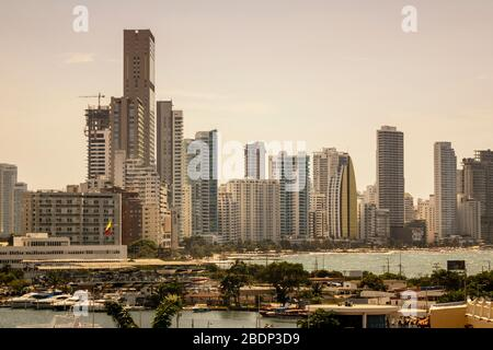 Cartagena, Colombia - January 23, 2020: The Skyline of the new city of Cartagena in Colombia